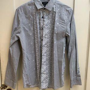 Black/white geometric pattern long sleeve shirt